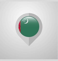 Map navigation pointer with turkmenistan flag vector