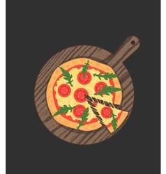 Margherita pizza on wooden board on black table vector image