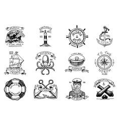 marine and nautical emblems set engraved vector image