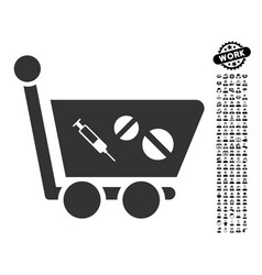 Medication shopping cart icon with people bonus vector