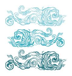 ocean waves set elegant hand drawn pattern vector image
