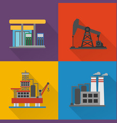 oil industry modern concept design flat set vector image