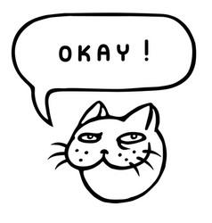 Okay cartoon cat head speech bubble vector