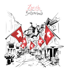 old town zurich switzerland vector image