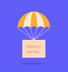Parachute with wooden box vector