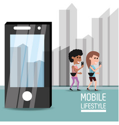 People with smartphone in the hand to digital vector