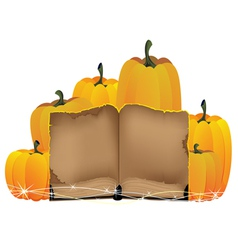 Pumpkins heap and the old book vector