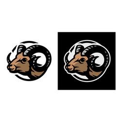 ram head logo on a light and dark background vector image