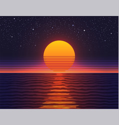 retro 80s sunset over big water vector image