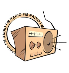 Retro radio fm logo vector