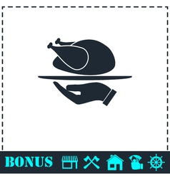 Roasted turkey icon flat vector