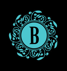 Round emblem with blue letter b on black vector