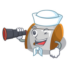 Sailor with binocular container food bread bin in vector