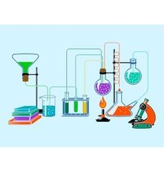 Scientific laboratory flat background vector