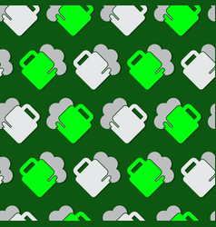 Seamless pattern - green white beers with froth vector