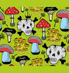 seamless pattern with funny skulls and vector image
