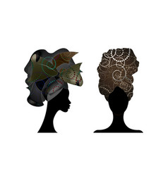 Set african scarf women portrait afro turban icon vector