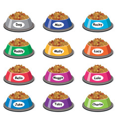 Set colorful plastic dog bowls vector
