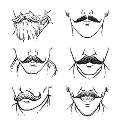 Set of hipster mustache outline drawing mustache vector