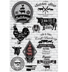 Set of labels for Butcher on brick wall vector