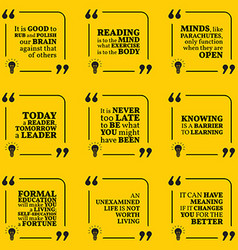 Set of motivational quotes about reading wisdom vector