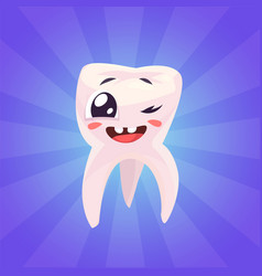 set of teeth characters cute cartoons vector image