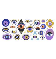 Set various hand drawn doodle eyes flat vector