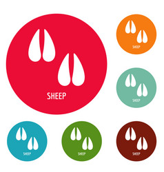 Sheep step icons circle set vector