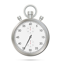 silver realistic stopwatch vector image