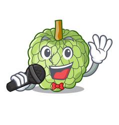 Singing fresh custard apple sweet fruit cartoon vector