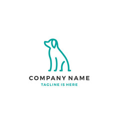 sitting dog outline monoline icon logo template vector image