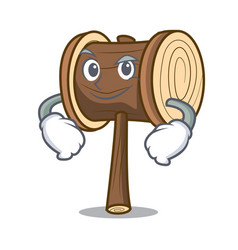 Smirking mallet character cartoon style vector