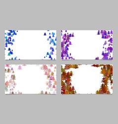 stylized pine tree design card background set vector image