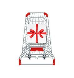supermarket shopping cart gift box whith red vector image