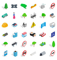 Tower icons set isometric style vector