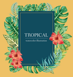 Tropical wreath swirl design summer with plants vector