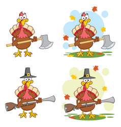 Turkey bird cartoon character collection - 3 vector