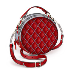 Unn stylish womens leather round red handbag vector