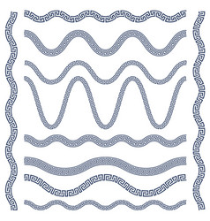 Wavy borders of greek ornament meander vector