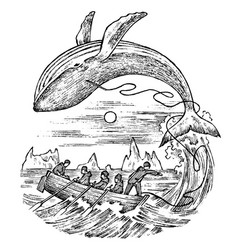 whaling in the 18th and 19th century vintage vector image