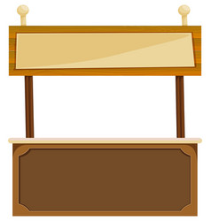 Wooden sign on counter bar vector