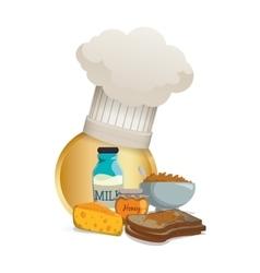 breakfast food cereal cheese toast milk honey vector image