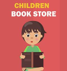 Children book store banner with boy rreads vector