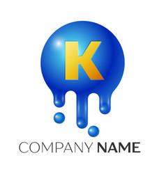 k letter splash logo blue dots and bubbles letter vector image vector image