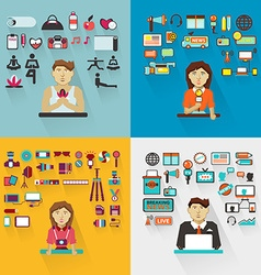 Set of professions Yoga instructor interviewer vector image