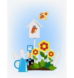 Flower beds and bird house vector