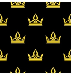 Golden crowns black seamless pattern vector image