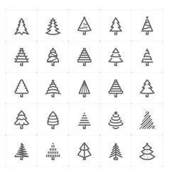 mini icon set christmas tree icon vector image