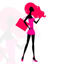 Retro girl silhouette vector image