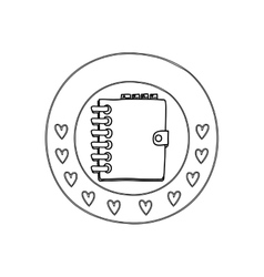 silhouette circular border with hearts and daily vector image